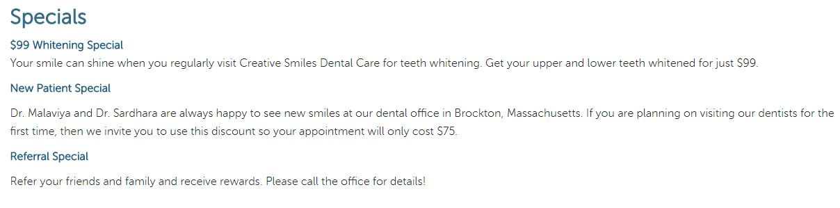 Brockton MA Dentist Specials